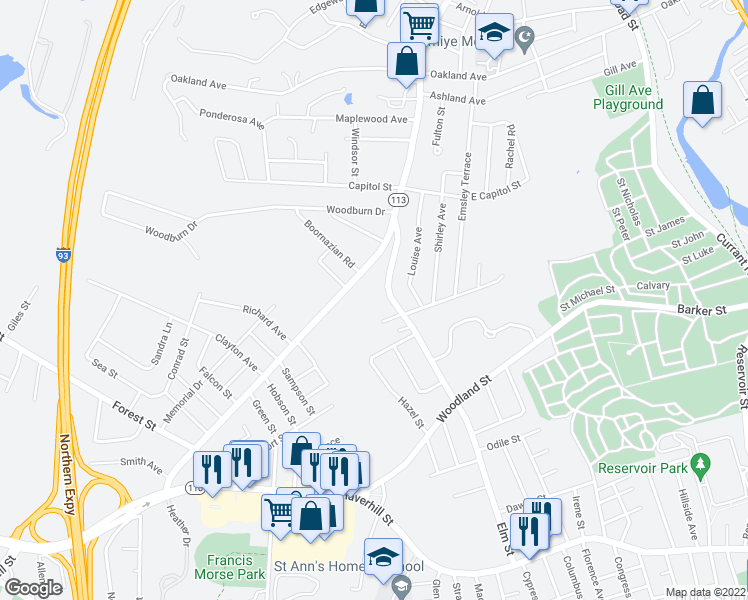 map of restaurants, bars, coffee shops, grocery stores, and more near Crest Drive in Methuen