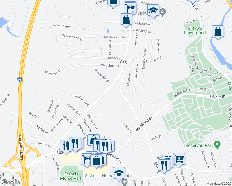 map of restaurants, bars, coffee shops, grocery stores, and more near 118 Elm Street in Methuen