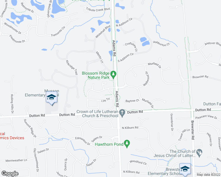 map of restaurants, bars, coffee shops, grocery stores, and more near 3095 Blossom Ridge Boulevard in Rochester