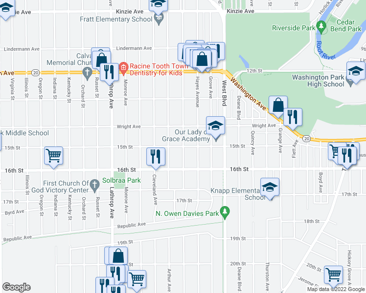 map of restaurants, bars, coffee shops, grocery stores, and more near Blaine Avenue in Racine