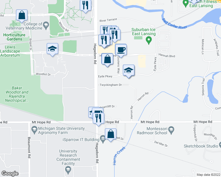 map of restaurants, bars, coffee shops, grocery stores, and more near 4632 South Hagadorn Road in East Lansing