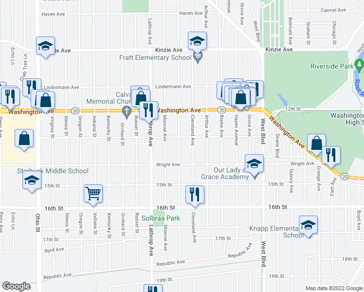 map of restaurants, bars, coffee shops, grocery stores, and more near 1313 West Lawn Avenue in Racine