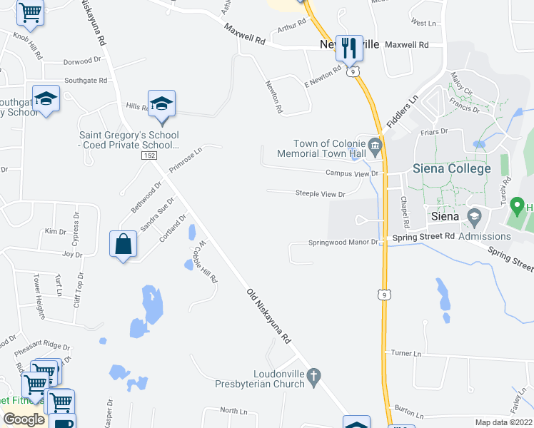 map of restaurants, bars, coffee shops, grocery stores, and more near 75 Old Niskayuna Road in Albany