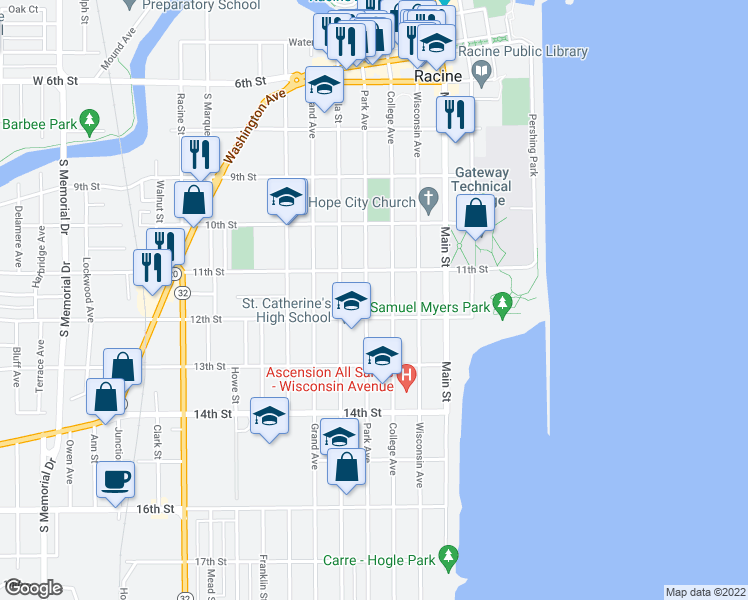 map of restaurants, bars, coffee shops, grocery stores, and more near 1129 Park Avenue in Racine