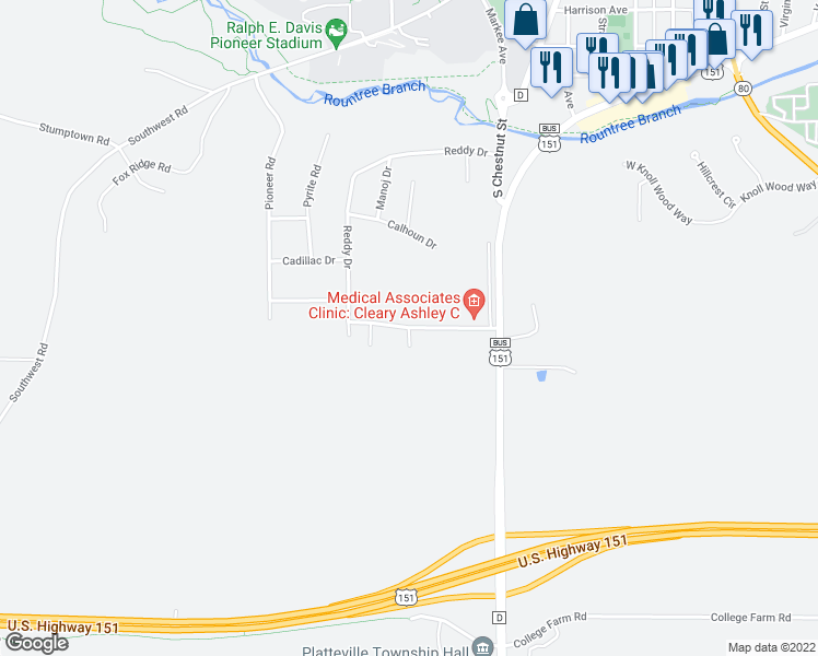 map of restaurants, bars, coffee shops, grocery stores, and more near 1480 Bears Court in Platteville