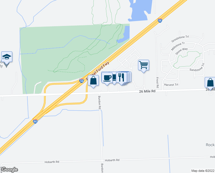 map of restaurants, bars, coffee shops, grocery stores, and more near 36125 26 Mile Rd in Macomb