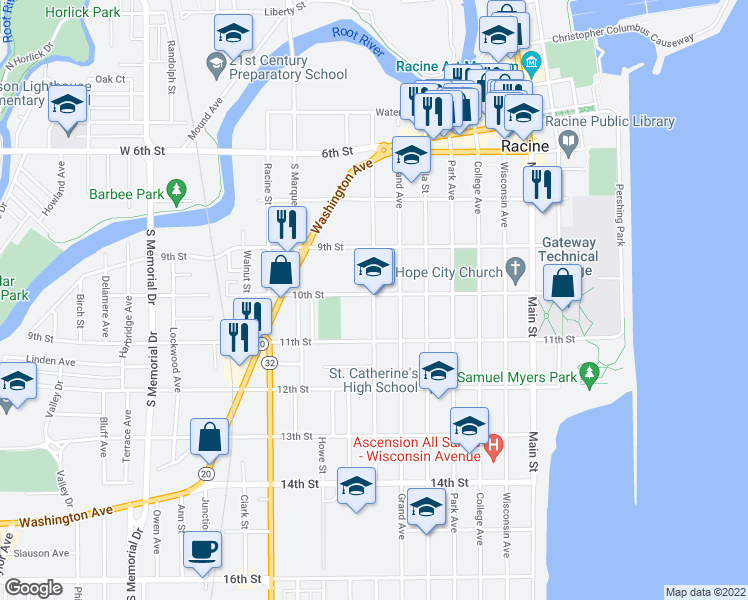 map of restaurants, bars, coffee shops, grocery stores, and more near 716 10th Street in Racine