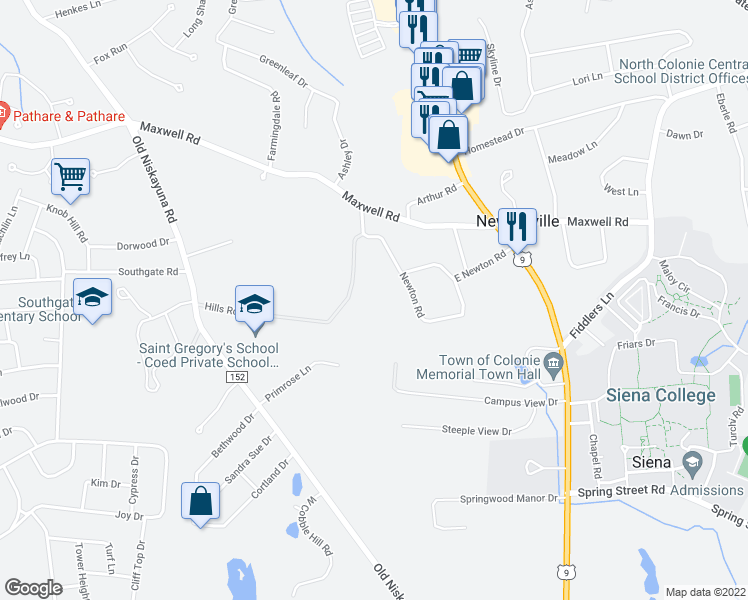 map of restaurants, bars, coffee shops, grocery stores, and more near 40 Hills Road in Albany