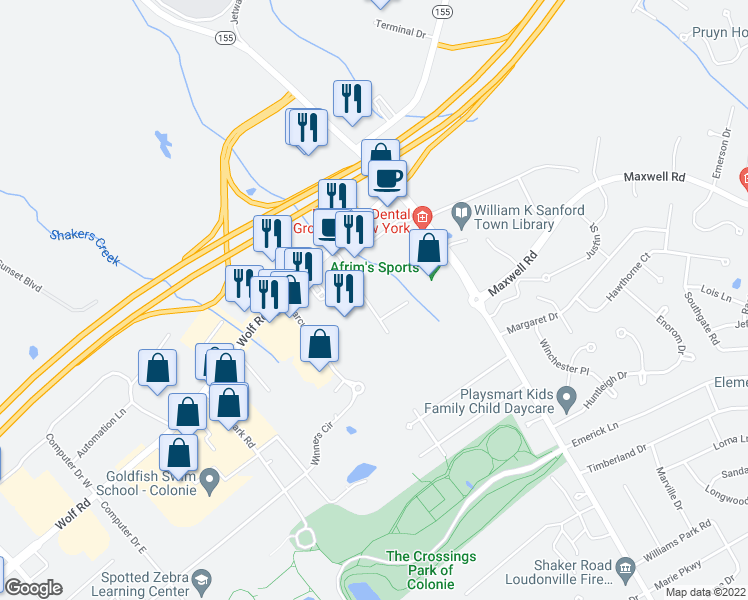 map of restaurants, bars, coffee shops, grocery stores, and more near 18 Ulenski Drive in Albany