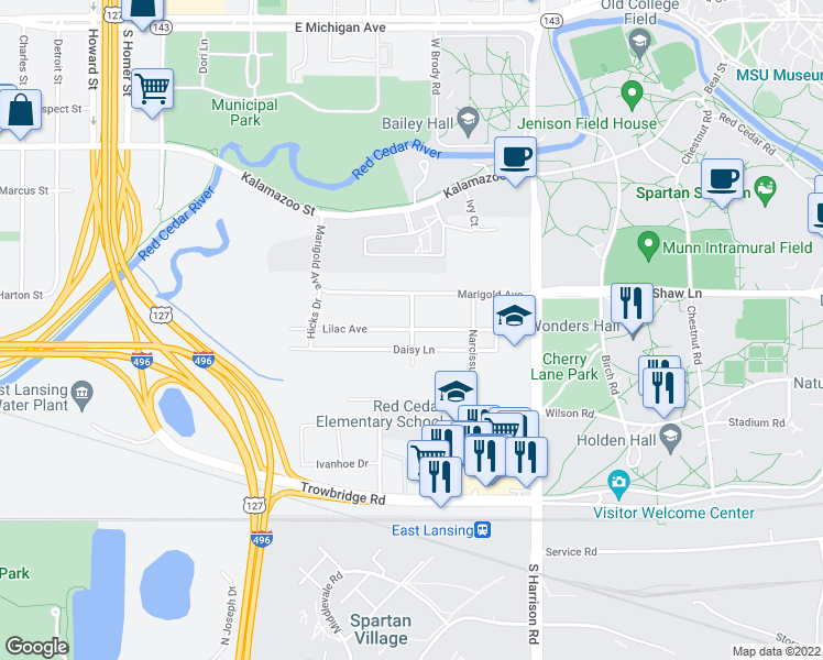 map of restaurants, bars, coffee shops, grocery stores, and more near Lilac Avenue in East Lansing