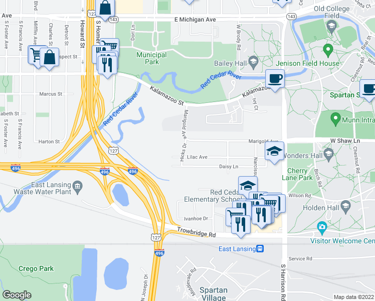 map of restaurants, bars, coffee shops, grocery stores, and more near 805 Hicks Drive in East Lansing