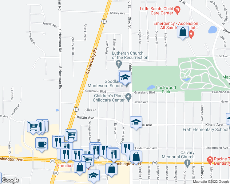 map of restaurants, bars, coffee shops, grocery stores, and more near Echo Lane in Racine