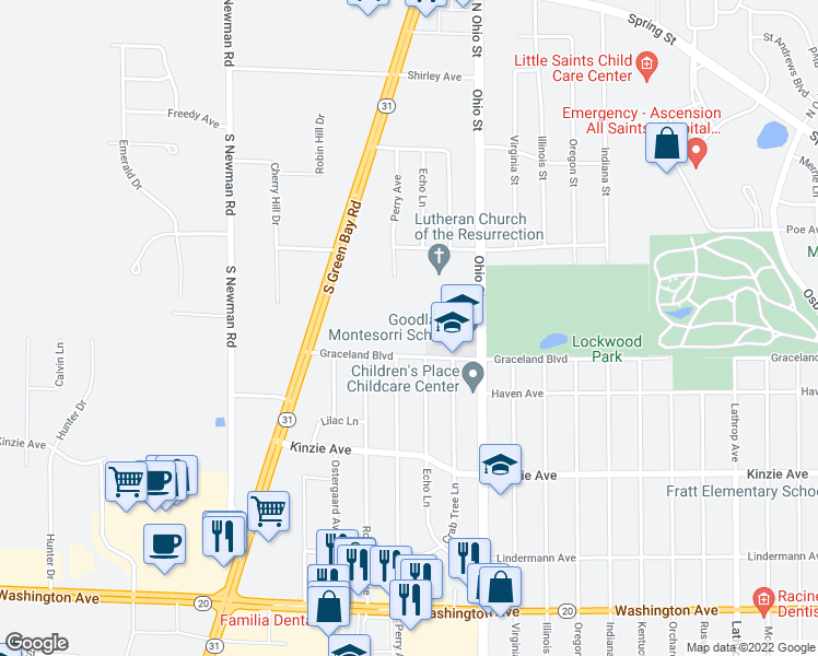 map of restaurants, bars, coffee shops, grocery stores, and more near 5000 Graceland Boulevard in Mount Pleasant