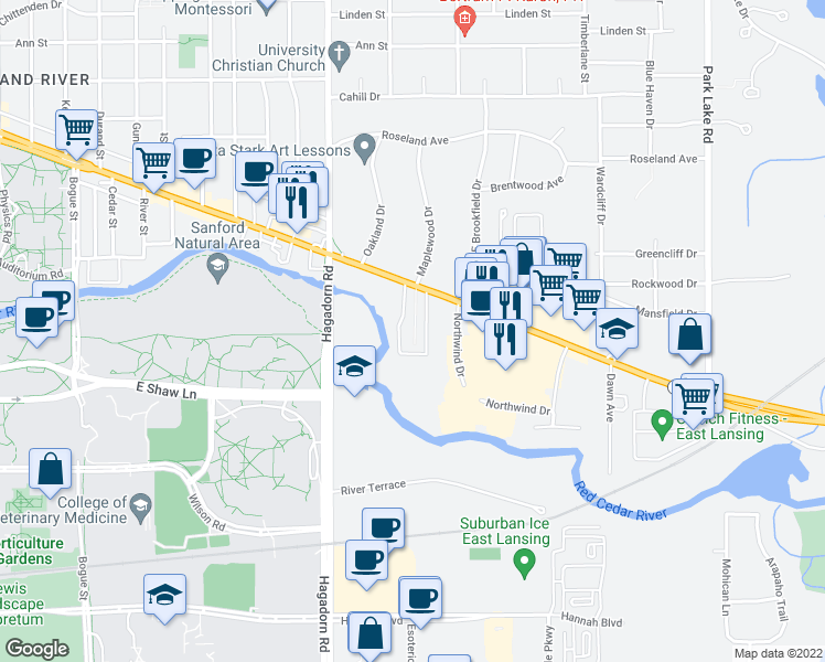 map of restaurants, bars, coffee shops, grocery stores, and more near 1700 East Grand River Avenue in East Lansing