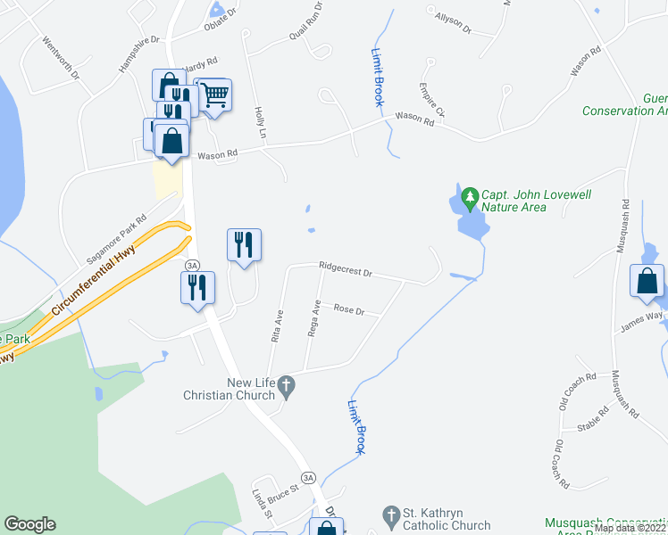map of restaurants, bars, coffee shops, grocery stores, and more near 11 Ridgecrest Drive in Hudson
