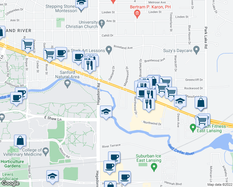map of restaurants, bars, coffee shops, grocery stores, and more near 1654 East Grand River Avenue in East Lansing