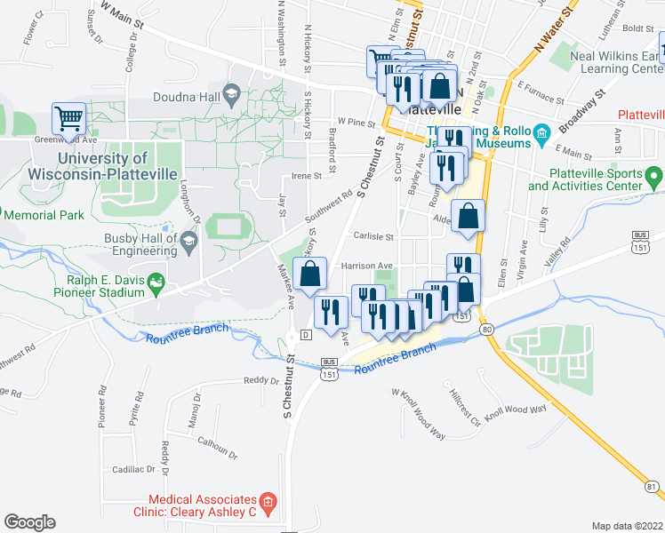 map of restaurants, bars, coffee shops, grocery stores, and more near South Chestnut Street in Platteville