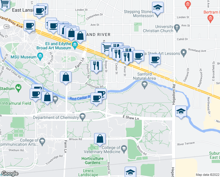 map of restaurants, bars, coffee shops, grocery stores, and more near 398 Village Drive in East Lansing