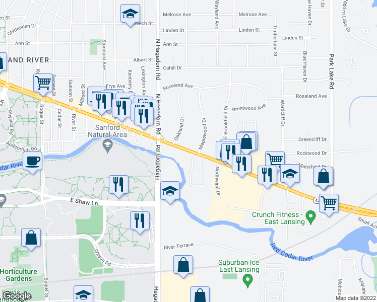 map of restaurants, bars, coffee shops, grocery stores, and more near 1647 East Grand River Avenue in East Lansing