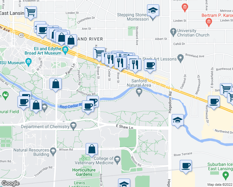 map of restaurants, bars, coffee shops, grocery stores, and more near 1050 Waters Edge Drive in East Lansing