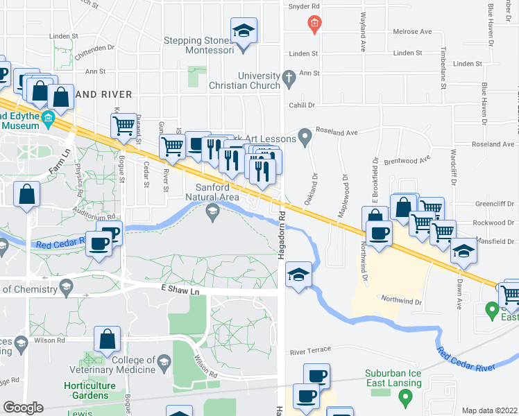map of restaurants, bars, coffee shops, grocery stores, and more near 1390 East Grand River Avenue in East Lansing