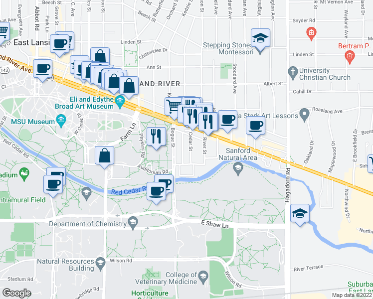 map of restaurants, bars, coffee shops, grocery stores, and more near 220 Cedar Street in East Lansing