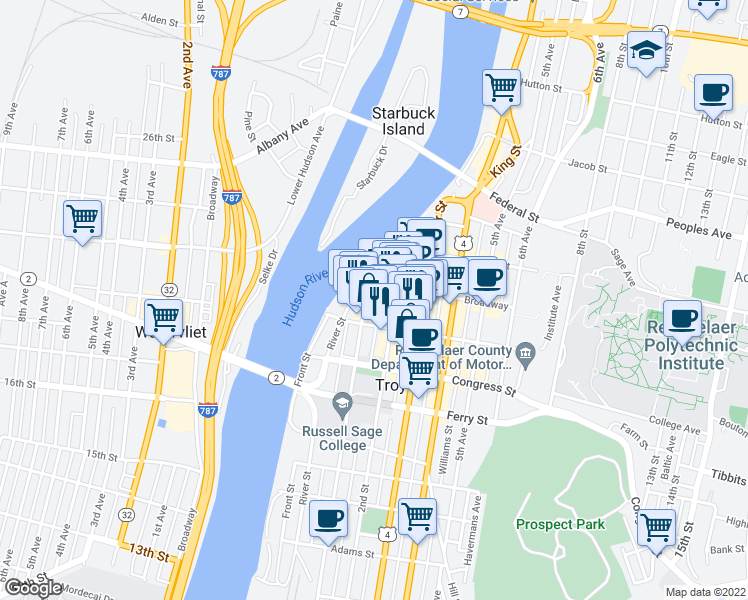 map of restaurants, bars, coffee shops, grocery stores, and more near 2 1st Street in Troy
