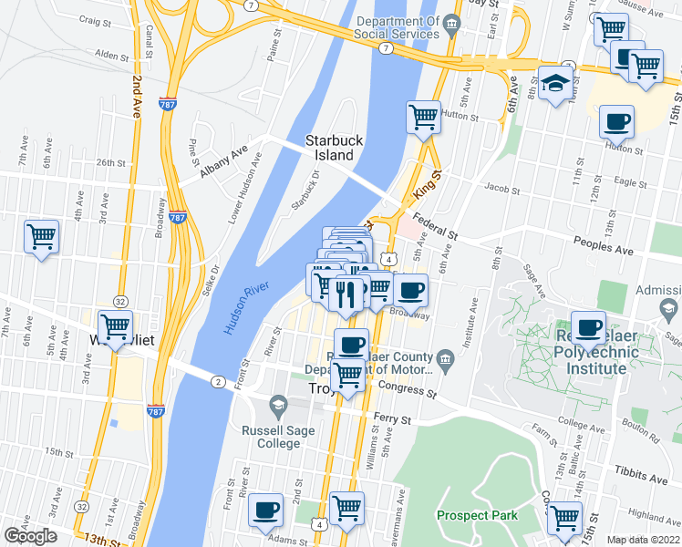 map of restaurants, bars, coffee shops, grocery stores, and more near 277 River Street in Troy