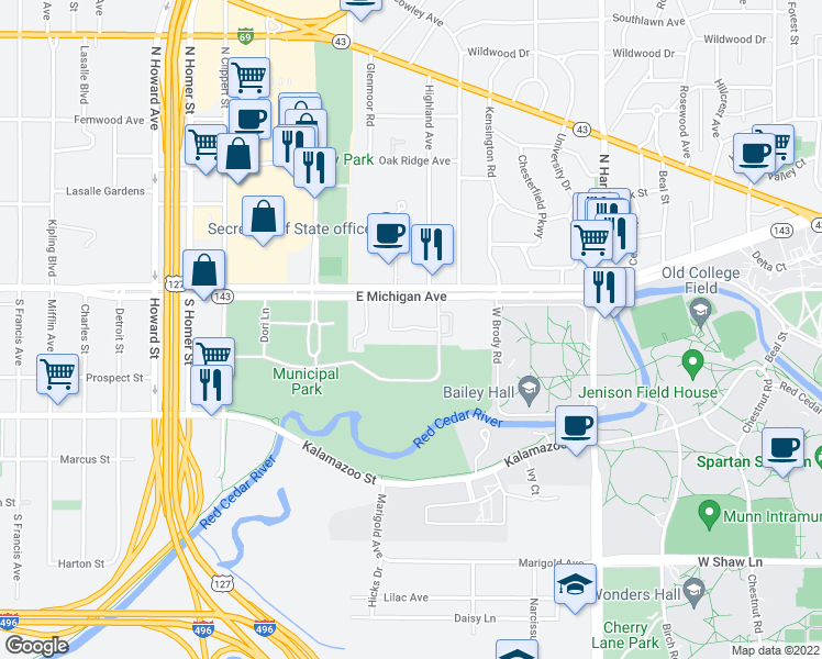 map of restaurants, bars, coffee shops, grocery stores, and more near 136 Reniger Court in East Lansing