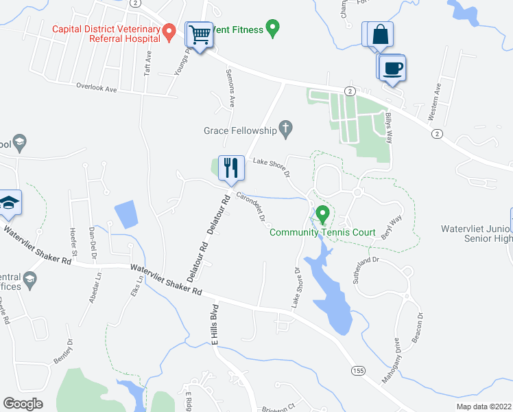 map of restaurants, bars, coffee shops, grocery stores, and more near 2 Carondelet Drive in Watervliet