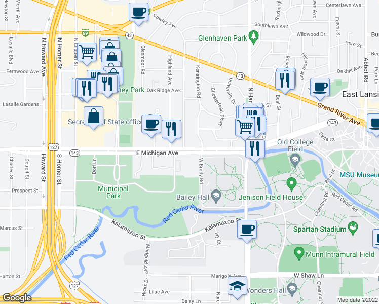 map of restaurants, bars, coffee shops, grocery stores, and more near 1100-1130 Highway 143 in East Lansing
