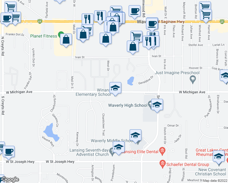 map of restaurants, bars, coffee shops, grocery stores, and more near 5503 West Michigan Avenue in Lansing