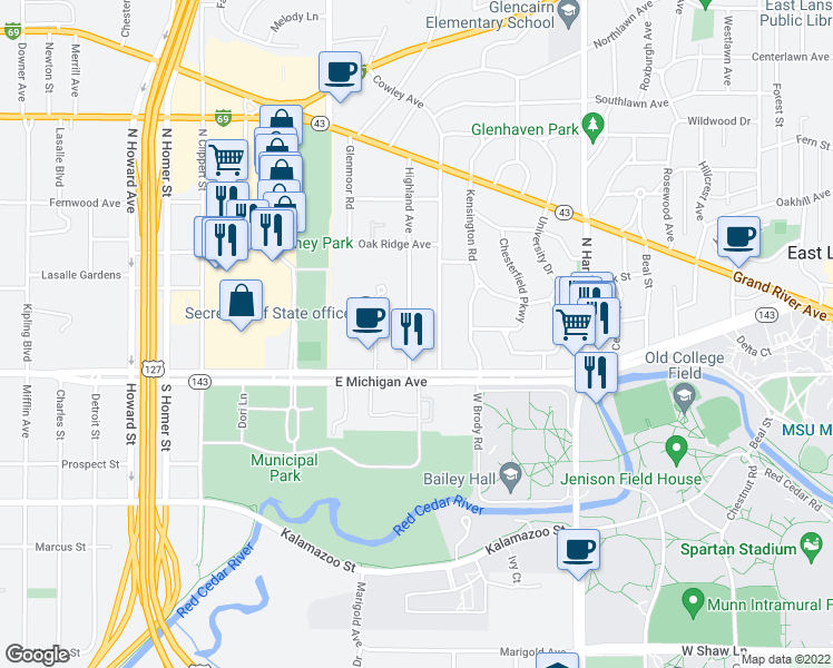 map of restaurants, bars, coffee shops, grocery stores, and more near 144 Highland Avenue in East Lansing