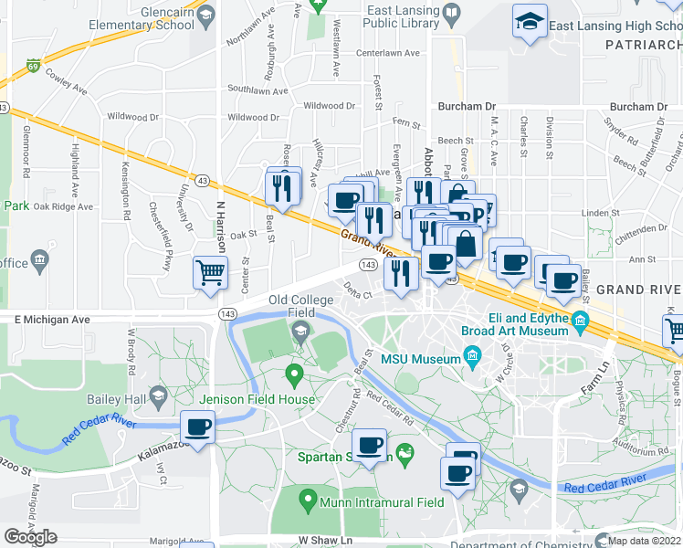 map of restaurants, bars, coffee shops, grocery stores, and more near Michigan Ave & Delta St in East Lansing