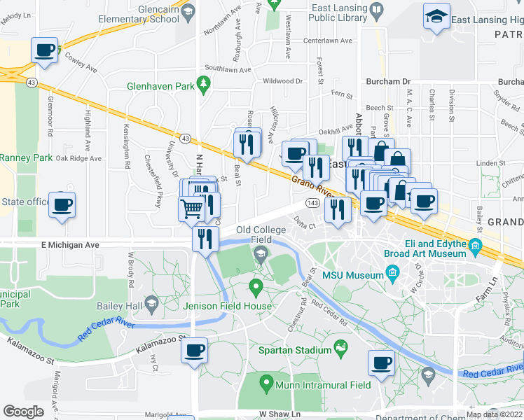 map of restaurants, bars, coffee shops, grocery stores, and more near 414 Michigan Avenue in East Lansing