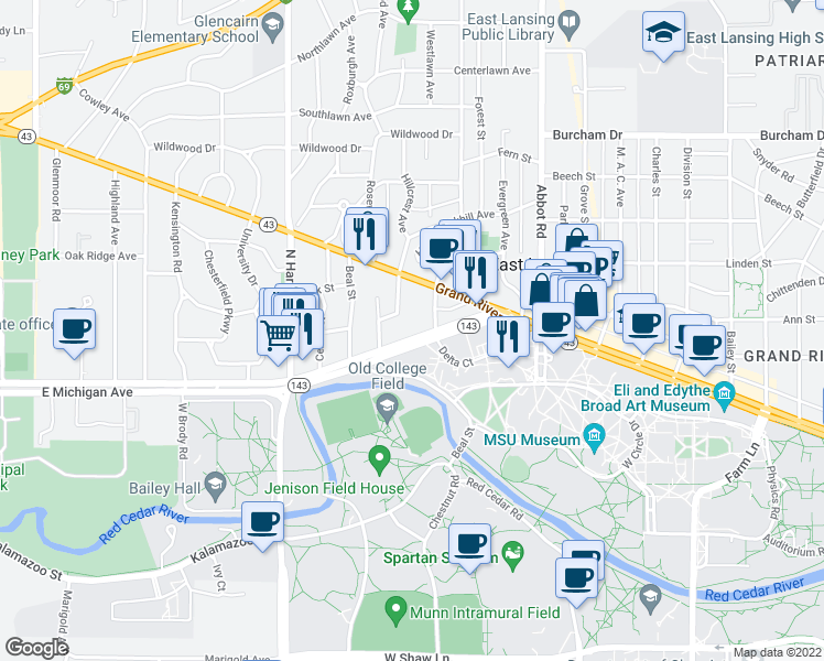 map of restaurants, bars, coffee shops, grocery stores, and more near 324 Michigan Avenue in East Lansing