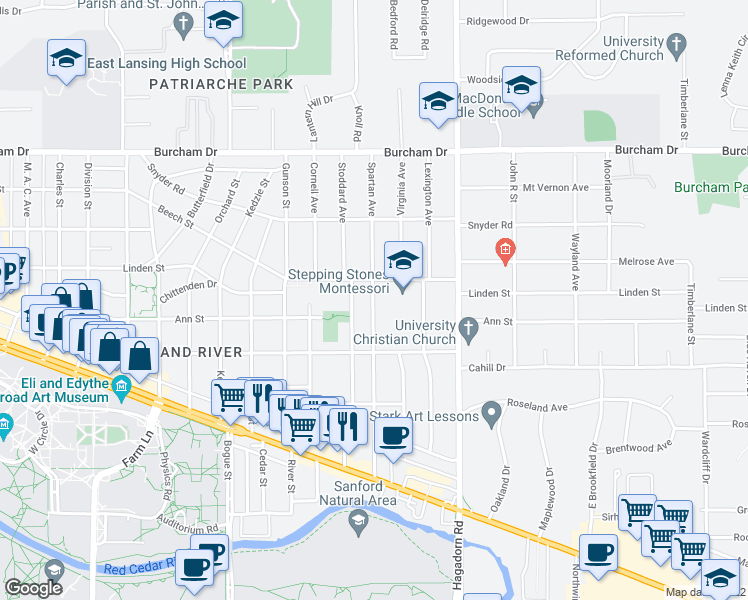 map of restaurants, bars, coffee shops, grocery stores, and more near 430 Spartan Avenue in East Lansing