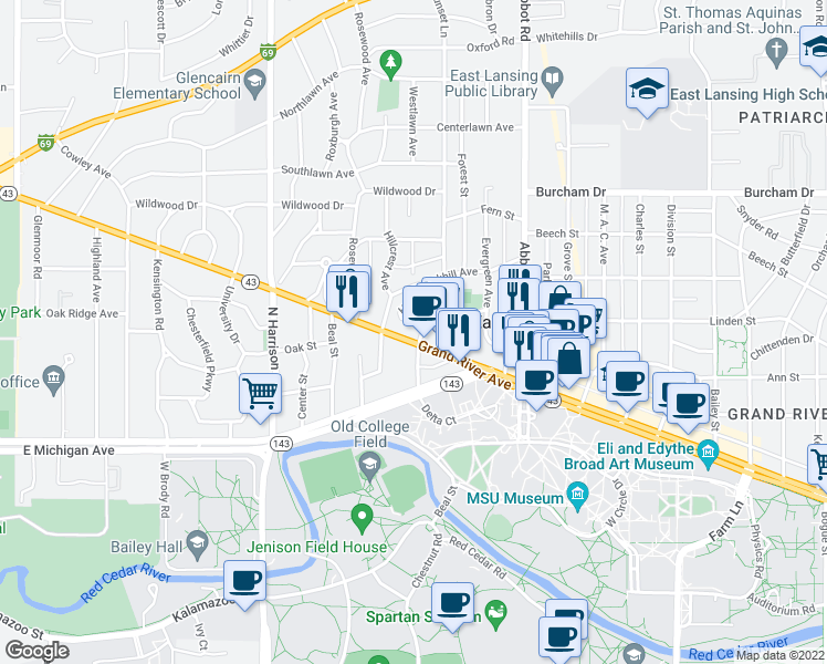 map of restaurants, bars, coffee shops, grocery stores, and more near 300 West Grand River Avenue in East Lansing