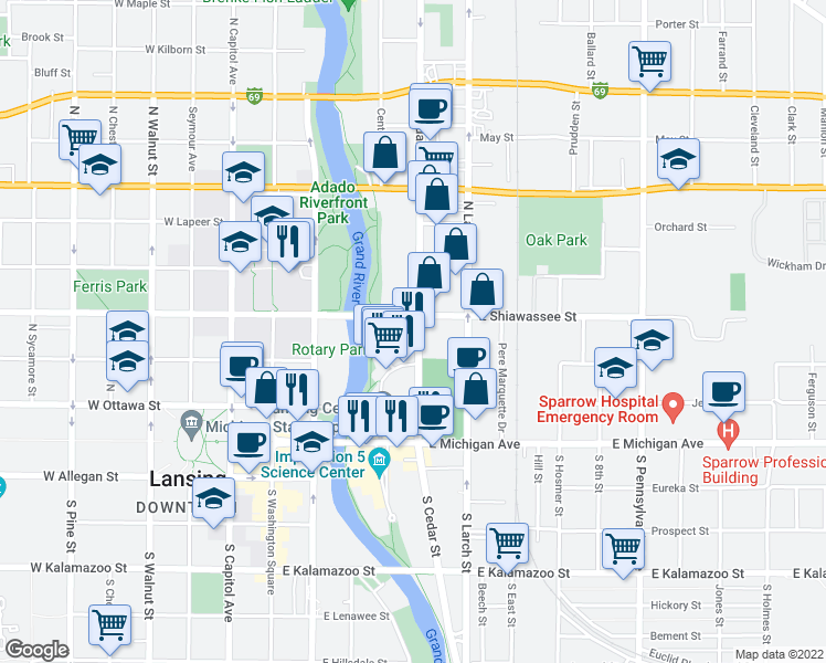 map of restaurants, bars, coffee shops, grocery stores, and more near 313 North Cedar Street in Lansing