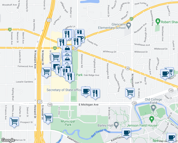 map of restaurants, bars, coffee shops, grocery stores, and more near 430 Glenmoor Road in East Lansing