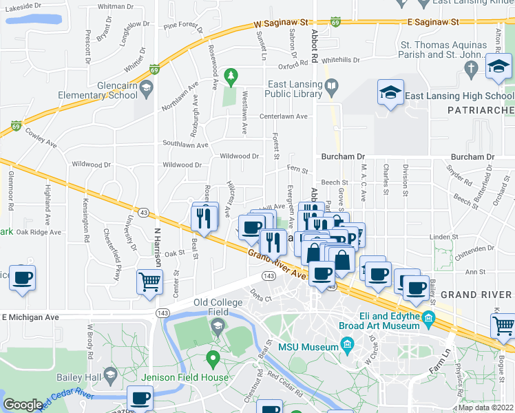 map of restaurants, bars, coffee shops, grocery stores, and more near 314 Oakhill Avenue in East Lansing
