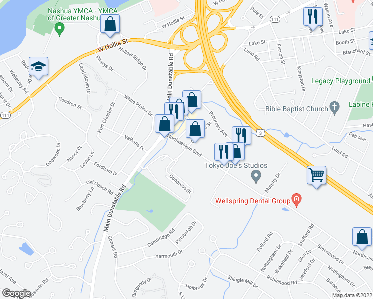 map of restaurants, bars, coffee shops, grocery stores, and more near 6-29 Congress Street in Nashua