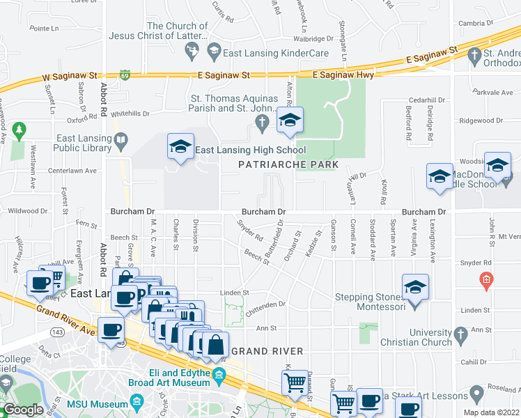 map of restaurants, bars, coffee shops, grocery stores, and more near 666 Butterfield Drive in East Lansing