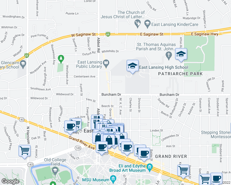 map of restaurants, bars, coffee shops, grocery stores, and more near 217 Burcham Drive in East Lansing