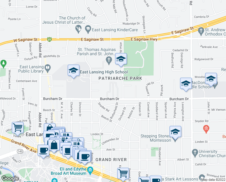 map of restaurants, bars, coffee shops, grocery stores, and more near 745 Burcham Drive in East Lansing