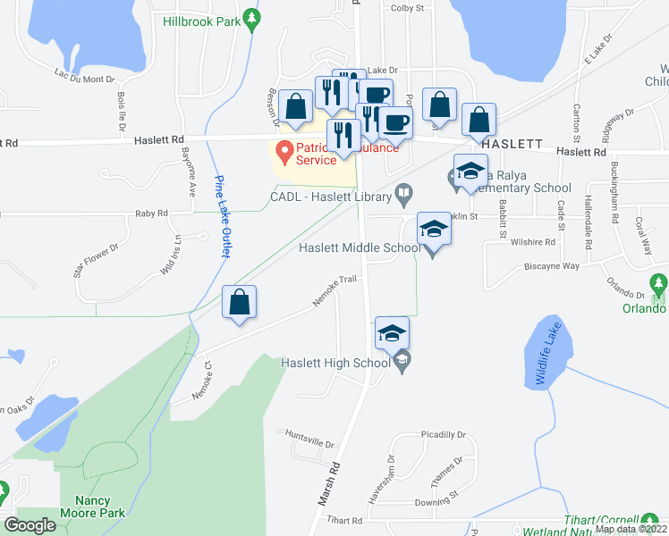 map of restaurants, bars, coffee shops, grocery stores, and more near 1765 Nemoke Trail in Haslett