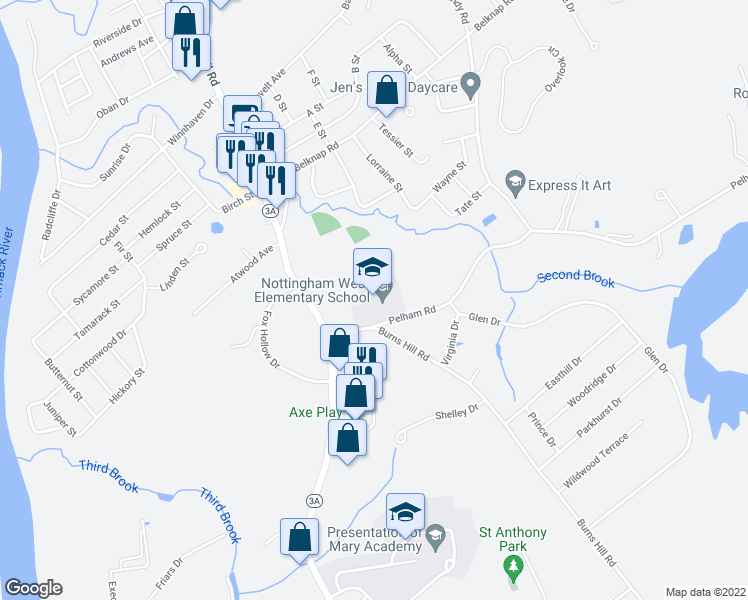 map of restaurants, bars, coffee shops, grocery stores, and more near 10 Pelham Road in Hudson