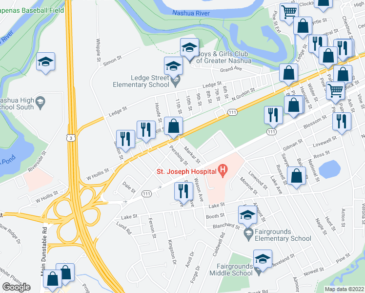 map of restaurants, bars, coffee shops, grocery stores, and more near 3 Markar Street in Nashua