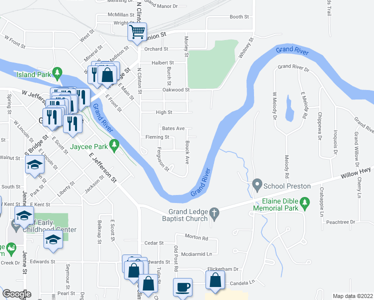 map of restaurants, bars, coffee shops, grocery stores, and more near Bouck Avenue in Grand Ledge
