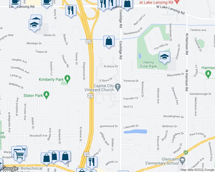 map of restaurants, bars, coffee shops, grocery stores, and more near 1705 Coolidge Road in East Lansing